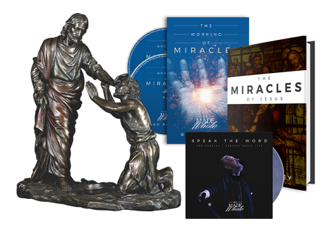Working of Miracles - 2 Disc Set, Working of Miracles Book, Speak the Word on CD and Jesus Healing the Blind Man Statue