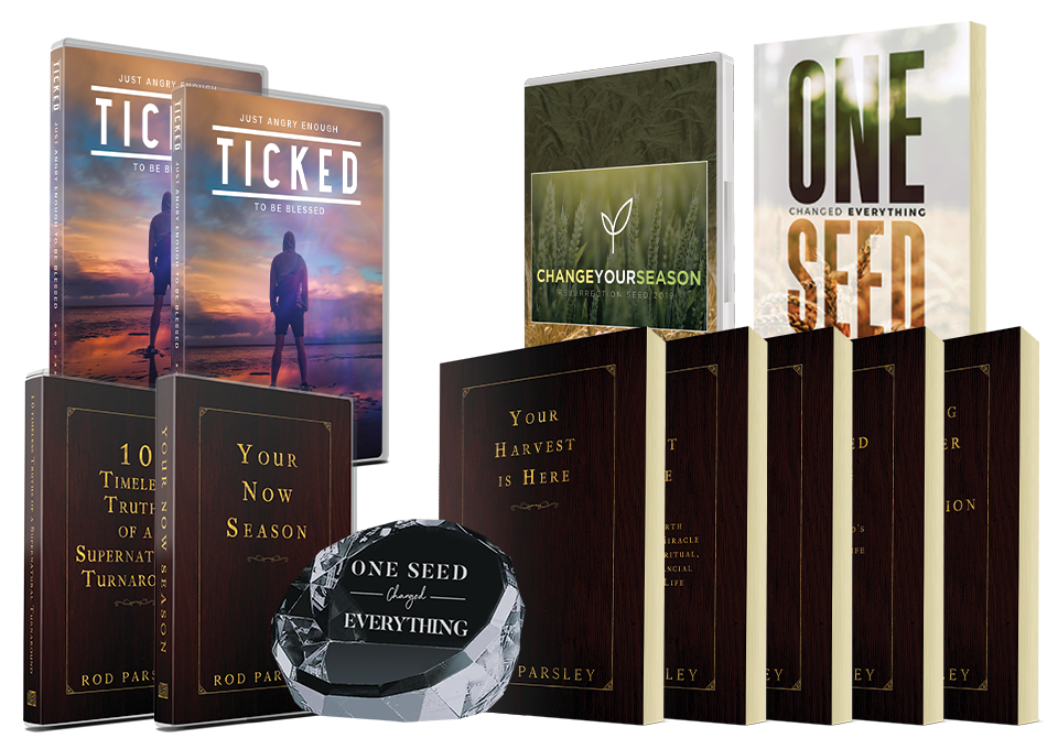 One Seed Changed Everything book, Ticked: Just Angry Enough to be Blessed on CD, DVD and digital download, 6-disc series Change Your Season, Resurrection Seed Legacy Collection.